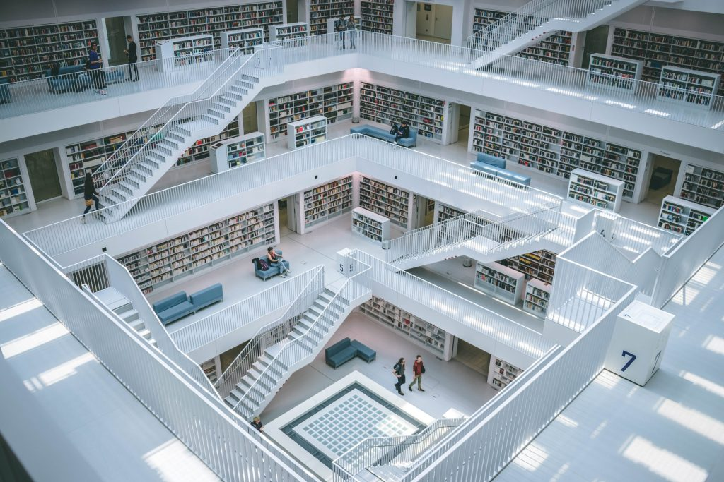 library with modern winding stairs